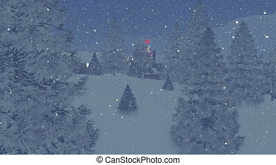 Decorated christmas tree at night - Dreamlike snowy town...