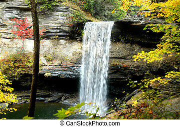 Bohemian Falls, in Upper Penninsula, Michigan, is surrounded...