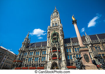 Munich city hall at Marienplatz, Bavaria, Germany