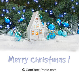 White christmas house with blue decorations border on white...