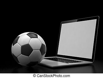 laptop and soccer football ball. on line soccer betting...