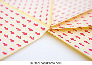 red arrow sticker