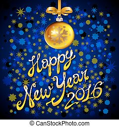 Vector illustration of Shining on a blue background. Happy New Year 2016