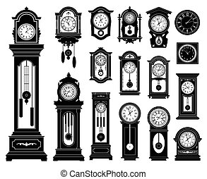 Set of clocks. Vector illustration.