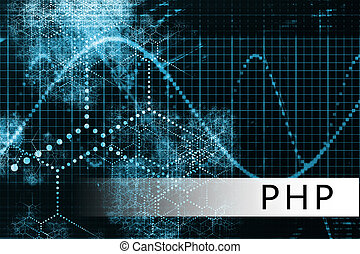 PHP in a Blue Data Background Illustration