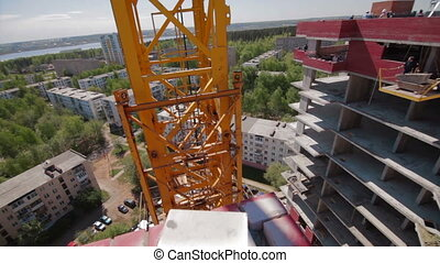 Construction site with crane. Wide agle