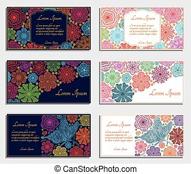 Set of invitation cards with flowers and butterfly. Good for...
