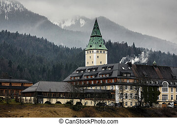 Hotel Schloss Elmau in Bavarian Alpine valley, Bavaria,...