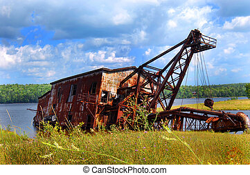 Copper Suction Dredge - Landmark in Upper Peninsula,...
