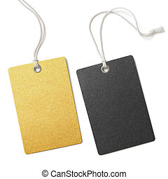 Gold and black cloth price tags set isolated - Blank gold...