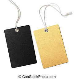 Gold and black blank cloth price tags set isolated - gold...