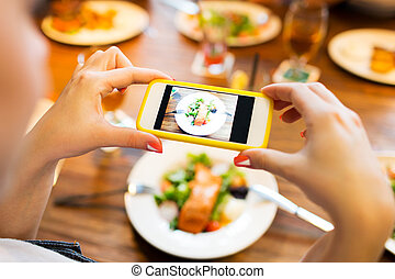 hands photographing food by smartphone - people, leisure,...