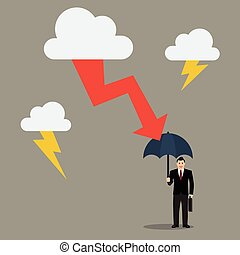 Businessman with umbrella protect from thunderstorm