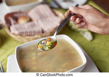 mujer, comida, sano, joven, sopa, caliente