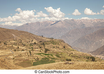 Colca canyon, Arequipa, Peru - View over the terraces and...