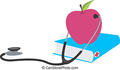 stethoscope checking an apple - Illustration of a...