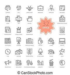 Set of Office Items Icons - Set of 32 thin, lines, outline...