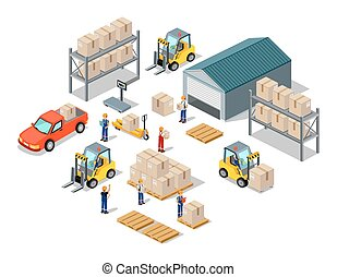 Icon 3d Isometric Process of the Warehouse - Icon 3d...
