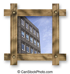 Brown wooden frame against a white background with office in...