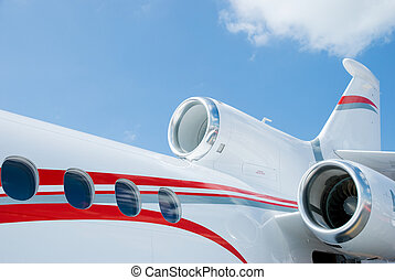 Detail of three engined corporate jet - Rear detail of white...