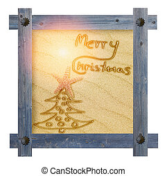 Wooden blue frame with nails in shape of sun against a white background with Christmas tree and words Merry Christmas on sandy, sunny background in the center.