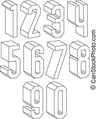3d black and white geometric numbers made with lines.