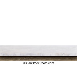 Empty top of white mable stone table isolated on white...