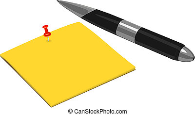 Note and Pen  - Vector Note and Pen
