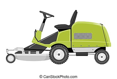 Green lawn mower - Green lawnmower on a white background