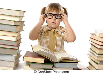 Little girl with books wearing black glasses, back to school