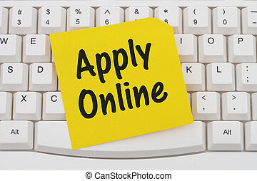 Apply Online, computer keyboard and sticky note