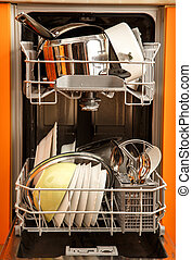 Clean dishes dishwashing machine - Clean dishes in...