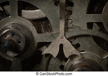 gear mechanism - dark picture macro gear mechanism, in rusty...