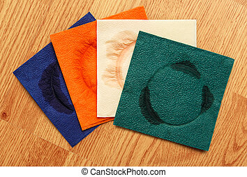 Dirty napkins - A few used paper napkins in closeup