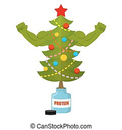 Strong Christmas tree Bodybuilder Tree athlete with big...