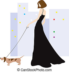 Lady and dog - Illustration of a lady is doing morning walk...