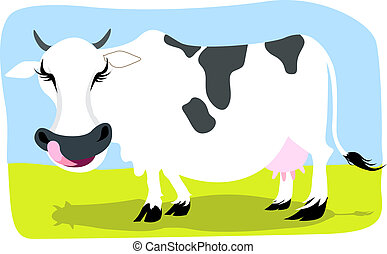 Cow - Illustration of a cow with tongue outside