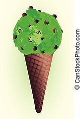 Chocolate Chip Mint Ice Cream Cones - Mint ice cream come...