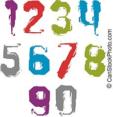 Modern watercolor brushed numbers set, hand-drawn colorful...
