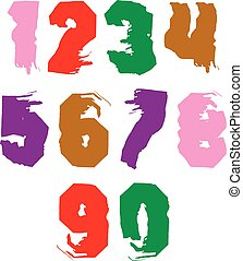 Handwritten contemporary vector digit set, doddle...