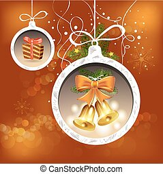 Christmas card with bells and bow
