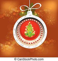 Christmas pine tree with ball