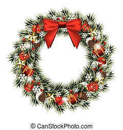 Christmas Wreath - Vector illustration of a decorative...