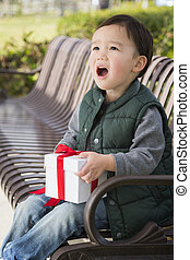 Mixed Race Boy Opening A Christmas Gift Outdoors