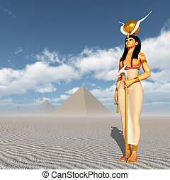 Pyramids and the goddess Hathor - Computer generated 3D...