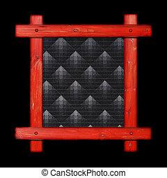 Old wooden frame against a black