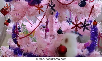 Cat playing on pink Christmas tree - Tricolor calico cat...