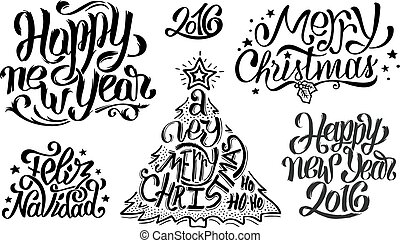 Merry Christmas and Happy New Year typography - Merry...