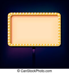 Night retro sign with lights - Night 3D sign with neon...