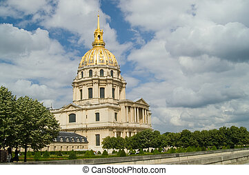 Les Invalides with garden in foreground against rich blue...